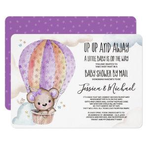 Girl Watercolor Teddy Bear | Baby Shower by Mail Invitation