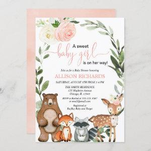 Girl woodland greenery blush floral baby shower invitation