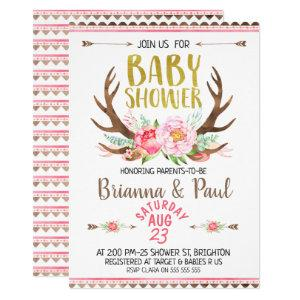 Girls Boho Floral Antlers Baby Shower Invitation