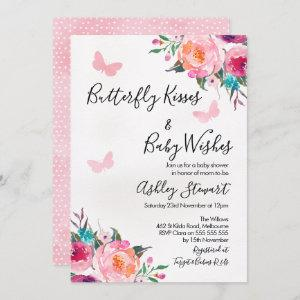 Girls Floral Butterfly Baby Shower Invitation