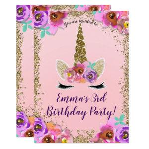 Girls Floral & Gold Glitter Unicorn Birthday Party Invitation