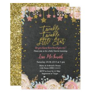 Girls Gold Twinkle Little Star Baby Shower Invitation