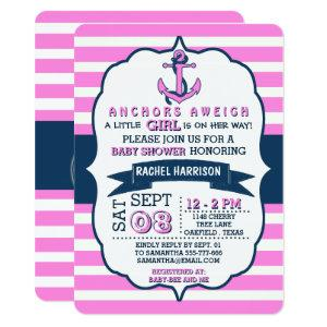 Girl's Nautical Anchor Baby Shower Invitations