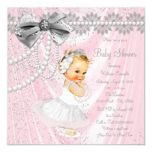 Girls Pink Satin Pearl Little Lady Baby Shower Invitation
