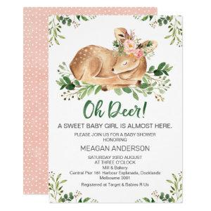 Girls Rustic Oh Deer Baby Shower Invitation