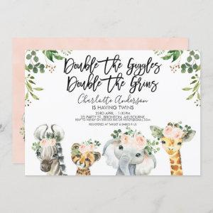 Girls Safari Animals Twins Baby Shower Invitation