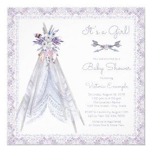 Girls TeePee Baby Shower Invitation Lavender Lace