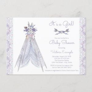 Girls Teepee Baby Shower  Lavender Lace