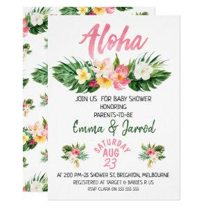 Girls Tropical Floral Baby Shower Invitation