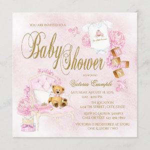 Girls Watercolor Pink Gold Baby Shower