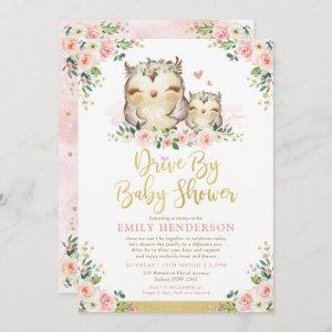 Girly Floral Owl Drive By Baby Shower Quarantine Invitation