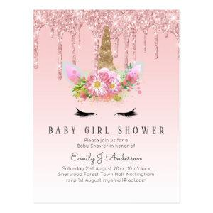GLITTER UNICORN Baby GIRL Shower Pink Gold Postcard