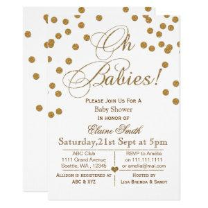 Glitter white and gold  twins baby shower invitation