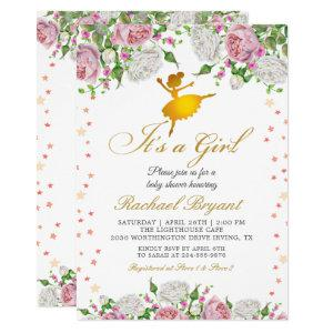 Gold Ballerina Its a Girl Floral Baby Shower Invitation