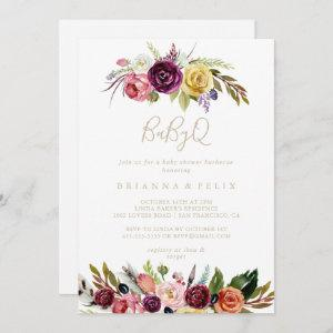 Gold Boho Floral BabyQ Baby Shower Barbecue  Invitation