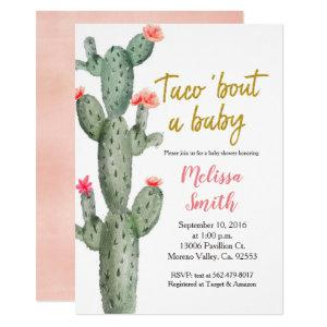 Gold Cactus floral Baby Shower Taco Bout Baby Invitation