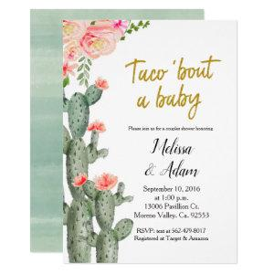 Gold Cactus floral Taco Bout Baby Baby Shower Invitation