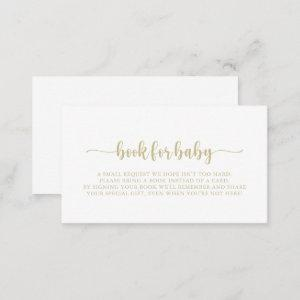 Gold Calligraphy Baby Shower Book Request   Enclosure Card