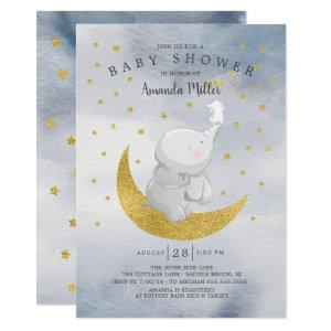 Gold Catch A Star Bunny Elephant Baby Boy Shower Invitation
