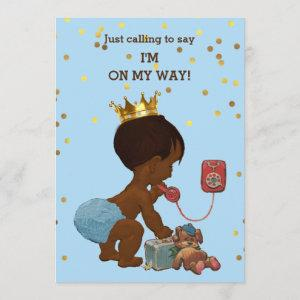 Gold Confetti Ethnic Prince on Phone Baby Shower Invitation
