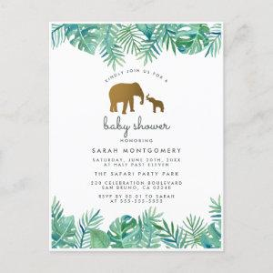 Gold Elephant & Tropical Leaves Jungle Baby Shower Invitation Postcard