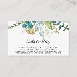 Gold Floral Tropical Baby Shower Book Request Enclosure Card