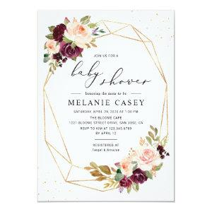 Gold Geometric Burgundy Blush Floral Baby Shower Invitation