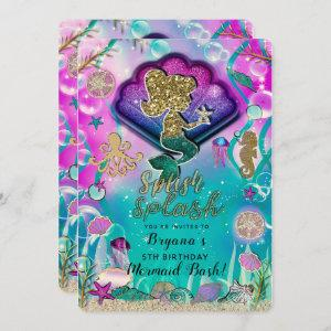 Gold glitter Mermaid & Shells Under the Sea Party Invitation