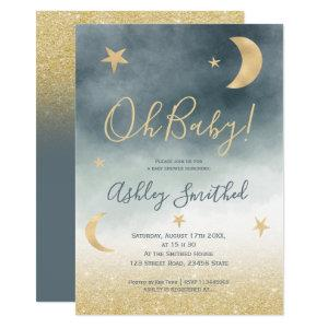 Gold glitter moon star blue watercolor baby shower invitation