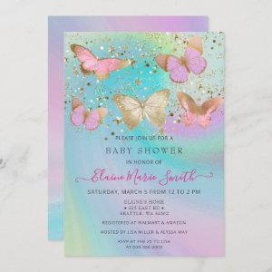 Gold Glitter Pink Purple Butterflies Baby Shower Invitation