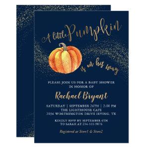 Gold Glitter Pumpkin Navy Blue Boy Baby Shower Invitation
