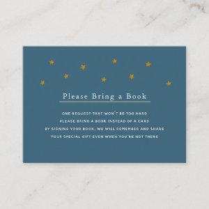 Gold Glitter Stars Navy Please Bring a Book Card