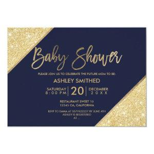 Gold glitter typography navy blue baby shower invitation