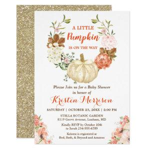 Gold Glitters Pumpkin Floral Fall Baby Shower Invitation