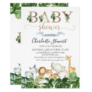 Gold Green Safari Animals Baby Shower Invitation