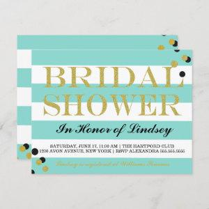 Gold Heart Teal Blue Party Shower Invitation