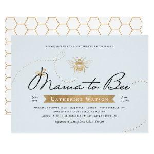 Gold Mama to Bee Baby Shower Blue Invitation