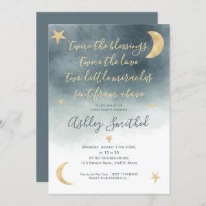 Gold moon stars blue watercolor twins baby shower