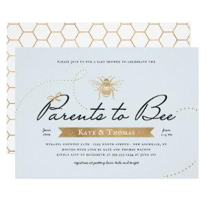 Gold Parents to Bee Baby Shower Blue Invitation