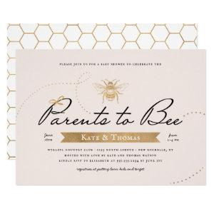 Gold Parents to Bee Baby Shower Blush Invitation