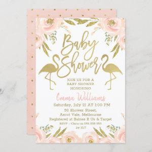 Gold Pink Flamingo Baby Shower Invitation