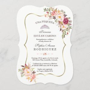 Gold Pink Floral Invitación de Baby Shower Invitation