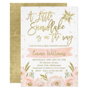 Gold Pink Winter Snowflake Baby Shower Invitation