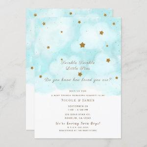 Gold Stars & Blue Sky Clouds Baby Shower Twins