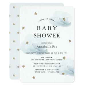 Gold Stars & Fluffy Clouds Baby Shower Invitation