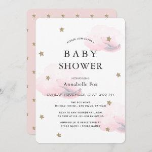 Gold Stars & Fluffy Pink Clouds Baby Shower Invitation
