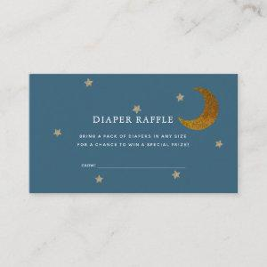 Gold Stars & Moon Baby Shower Diaper Raffle Ticket Enclosure Card