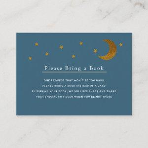 Gold Stars & Moon Navy Please Bring a Book Card