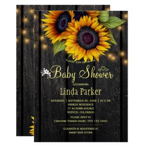 Gold sunflowers rustic barn wood baby shower invitation