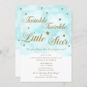 Gold Twinkle Stars & Blue Sky Clouds Baby Shower Invitation